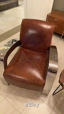 Timothy Oulton / Halo Living Aviator Leather Rocket Armchair / Club Chair