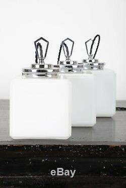 Trio Of Art Deco Cube Opaline Lighting Ceiling Pendants