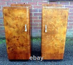 True pair antique Art Deco burr walnut chrome bedside cabinets chests cupboards