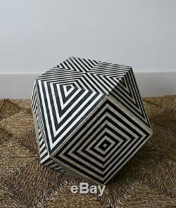Unusual Indian Moroccan Geometric Op Art Side Hall Coffee Sofa Chair Lamp Table