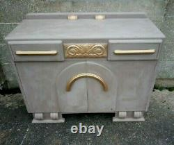 Unusual Painted Grey And Gold Wooden Art Deco Sideboard/Buffet