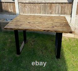 Upcycled Reclaimed Scaffolding Board Dining Table with industrial Steep Legs