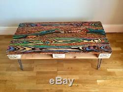 Upcycled retro reclaimed pallet coffee table with industrial hairpin legs