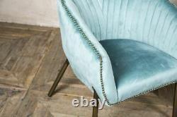Velvet Tub Chair Bucket Armchair Duck Egg Blue Or Grey Tub Dining Chair