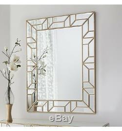 Verbier Large Modern Painted Gold Rectangle Overmantle Wall Mirror 46.5 x 35