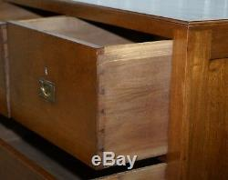 Very Large 136cm Tall Solid Panelled Teak Military Campaign Chest Of Drawers