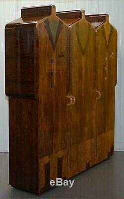 Very Rare Original Signed Dated 1989 Andrew Varah Umbrella Men Rosewood Wardrobe