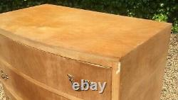 Vintage 1930's Art Deco Bow Front Walnut Chest Of Drawers