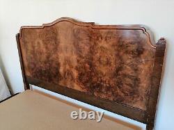 Vintage 1930s walnut double bed frame
