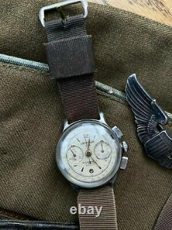 Vintage 1950s Lemania 105 Chronograph WWII Cal 1275 (320 / 321) CH27 Watch CPO