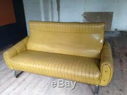 Vintage 1960's sofa mustard retro 2/3 seater vinyl art deco style