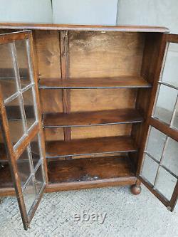Vintage, 20thC, 1930's, oak, 3 door, glazed, bookcase, adjustable shelves, bun feet, book