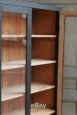 Vintage Antique Black Painted Deco Glass Larder Cupboard Cabinet