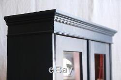 Vintage Antique Blue Painted Larder Linen Press Glass Cupboard Armoire Cabinet