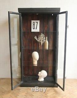 Vintage Antique Ebonised Fully Glazed Cabinet Cupboard Medical Cabinet