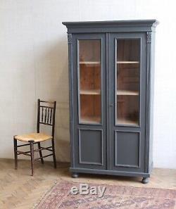 Vintage Antique Grey Painted Larder Linen Press Glass Cupboard Armoire Cabinet