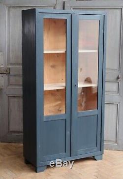 Vintage Antique Indigo Painted Deco Glass Larder Cupboard Cabinet