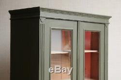 Vintage Antique Khaki Green Larder Linen Press Glass Cupboard Armoire Cabinet