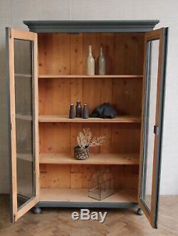 Vintage Antique Painted Larder Linen Press Fully Glazed Cupboard Armoire Cabinet