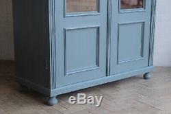 Vintage Antique Painted Larder Linen Press Glass Cupboard Armoire Cabinet