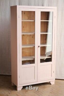 Vintage Antique Pink Painted Deco Glass Larder Cupboard Cabinet