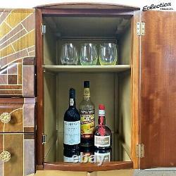 Vintage Art Deco Cocktail Drinks Cabinet / Sideboard'Beautility' Walnut Gold
