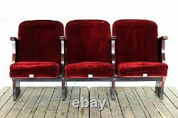 Vintage Art Deco Folding Cinema Theatre Seats Bench Chairs 1950 sets of 2-3-4