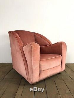 Vintage Art Deco Pink Velvet Armchair
