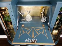 Vintage, Art Deco, Retro, Drinks, Display Cabinet, Blue Gold Leaf