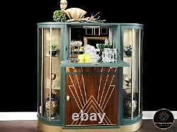 Vintage, Art Deco, Retro, Drinks, Display Cabinet, Green Gold Leaf
