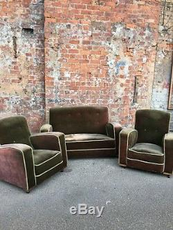 Vintage Art Deco Style Upholstered 2-seater Settee Early 20th Century Sofa