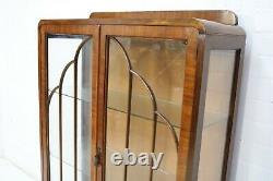 Vintage Art Deco Style Walnut Display Cabinet With Glazed Doors