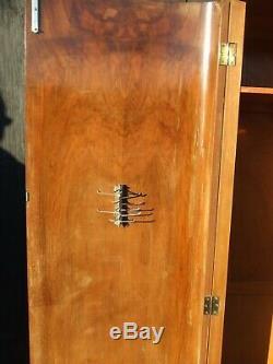 Vintage Art Deco Style Walnut Veneered Wardrobe with Rails & Shelves