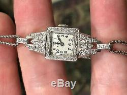 Vintage Art Deco style Ladies Elgin Platinum & Diamond Watch