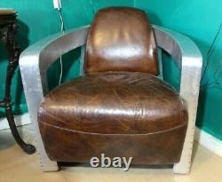Vintage Aviator club chair Leather Rocket Spitfire Armchair Statement Retro