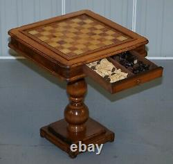 Vintage Burr, Burl & Natural Walnut Chess Table With Single Drawer & Pieces