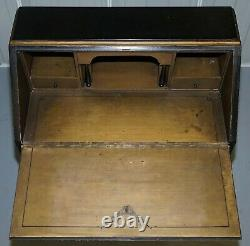 Vintage Ebonised Lacquered & Giltwood Chinese Chinoiserie Writing Bureau Desk
