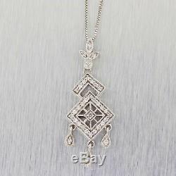 Vintage Estate 14K White Gold Art Deco Style 0.35ct Diamond Filigree Pendant B9