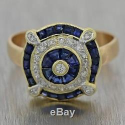 Vintage Estate 18k Yellow Gold Art Deco Style 0.75ctw Sapphire & Diamond Ring