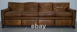 Vintage Hand Made In Chelsea Brown Leather 4 Seater Sofa Lion Hairy Paw Feet