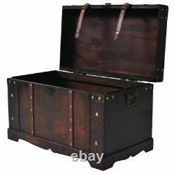 Vintage Large Wooden Treasure Chest Storage Trunk Retro Clothes Organiser Brown