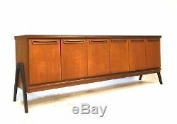 Vintage Mid Century Danish Era 1960s 6.5ft Modernist Teak Sideboard Cabinet