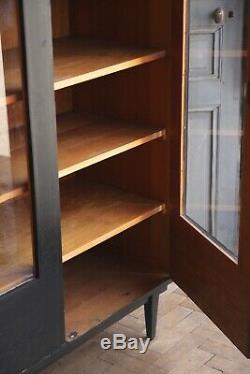 Vintage Mid Century Matt Black Painted Glass Cupboard Cabinet