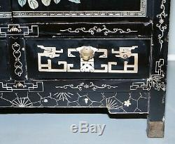 Vintage Pair Of Ebonised Chinese Chinoiserie Side Table Sized Cupboard Bookcases