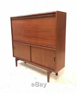 Vintage Retro Danish Mid Century 1960s Teak Bureau Slide Door Sideboard Cabinet