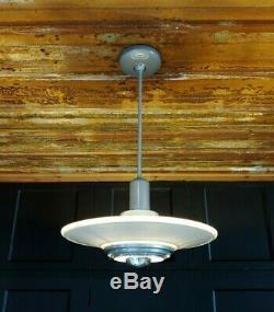 Vintage Silvray Art Deco Pendant Ceiling Light Atomic MCM Style Fixture