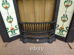 Vintage Style Fireplace Front with Tiles. Art Deco with Tidy + Fixing lugs