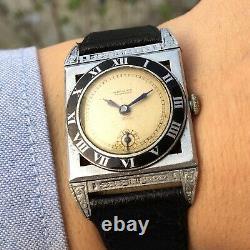 Vintage Warwick Reinforced Watch Art Deco Enamel Bezel Military Rare