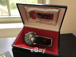 Vintage Wyler 1502/5 Lifeguard Valjoux 72 Panda Chronograph watch withbox No Resv