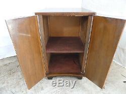 Vintage, art deco, 1920's, walnut, concave, cabinet, cupboard, shelves, bracket feet